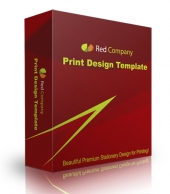 Red Company Print Design Template Graphic with Personal Use Rights