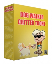 Dog Walker Critter Toonz Graphic with private label rights
