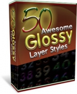 50 Glossy Layer Styles Graphic with Master Resale Rights