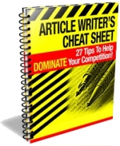 Article Writer's Cheat Sheet eBook with private label rights