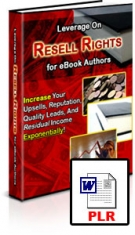 Leverage On Resell Rights for eBook Authors eBook with Private Label Rights
